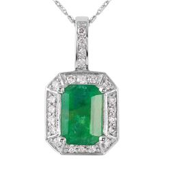 14KT White Gold Emerald and Diamond Pendant and Chain - #1480