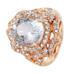 14KT Rose Gold Aquamarine and Diamond Ring - #1499