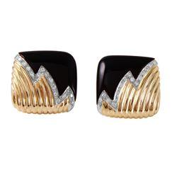 14KT Yellow Gold Diamond and Black Onyx Earrings - #364