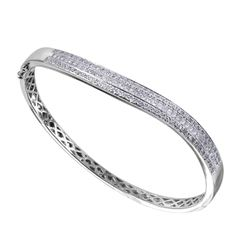 14KT White Gold Diamond Bangle Bracelet - #2012-6