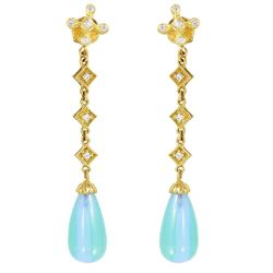 18KT Yellow Gold Iolite and Diamond Earrings - #1858