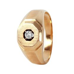 14KT Yellow Gold Diamond Mens Solitaire Ring - #510A