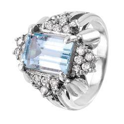 14KT White Gold Aquamarine and Diamond Ring - #1367