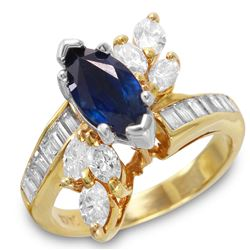 14KT Yellow Gold Sapphire and Diamond Ring - #267