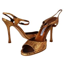 Designer Manolo Blahnik Shoes - Snake Oro Gold With Box and Dust Bags: Size 39 - #596