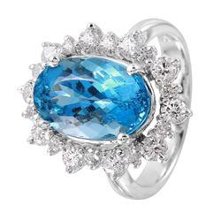 14KT White Gold Aquamarine and Diamond Ring - #1366