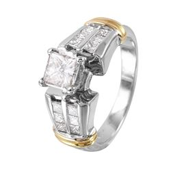 14KT White and Yellow Gold Diamond Engagement Ring - #1342