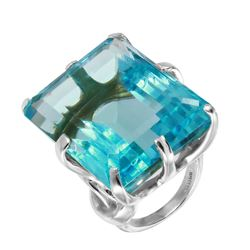 Simulated Aquamarine Sterling Silver Solitaire Cocktail Ring - #1709