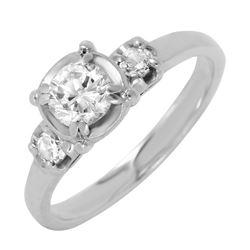 14KT White Gold Diamond Vintage Style Engagement Ring - #542