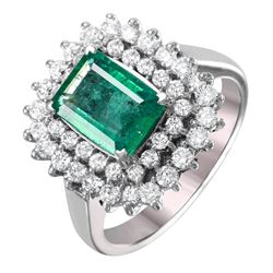 14KT White Gold Emerald and Diamond Ring - #1510