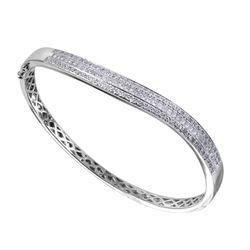14KT White Gold Diamond Bangle Bracelet - #2012-10
