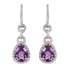 14KT White Gold Amethyst and Diamond Earrings - #2027