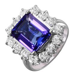 14KT White Gold Tanzanite and Diamond Ring - #1542