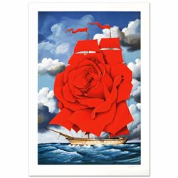Red Rose Ship Limited Edition Hand Pulled Original Lithograph by Rafal Olbinski, Numbered and Hand S