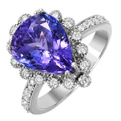 14KT White Gold Tanzanite and Diamond Ring - #1537