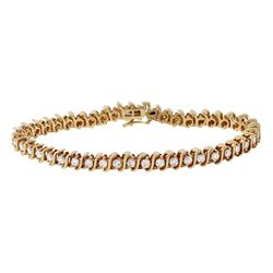 14KT Yellow Gold Diamond Tennis Bracelet - #1185