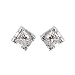 14KT White Gold Diamond Stud Earrings - #1609