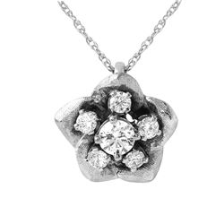 14KT White Gold Diamond Pendant and Chain - #970