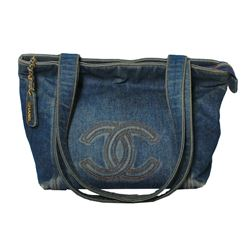 Authentic Designer Chanel Denim Double Strap Tote Bag with Dust Bag - #402