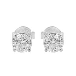 14KT White Gold Diamond Stud Earrings - #119