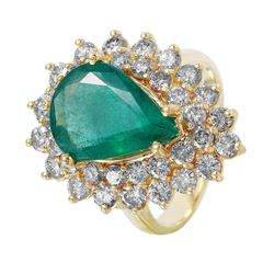 14KT Yellow Gold Emerald and Diamond Ring - #1489