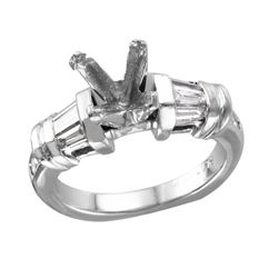 Platinum Semi-Mounting Mixed Diamond Engagement Ring - #1809