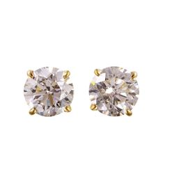 14KT Yellow Gold Diamond Stud Earrings - #1728