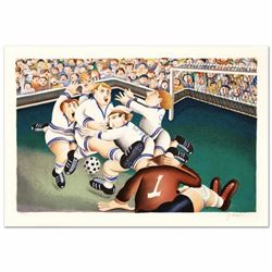 """""""Soccer"""" Limited Edition Lithograph By Yuval Mahler, Numbered and Hand Signed with Certificate of Au"""