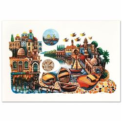 """City of Jaffa"" Embossed Limited Edition Lithograph with Foil Stamping by Amram Ebgi, Numbered and H"