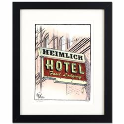 "Bizarro! ""Heimlich Hotel"" is a Framed Limited Edition which is Numbered, Hand Signed by creator Dan"
