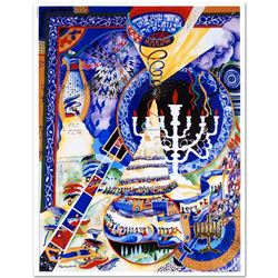 """Menorah"" Embossed Lithograph by the Talented Raphael Abecassis! Hand Signed by the Artist, with Cer"