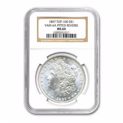 1897 $1 Morgan Silver Dollar Top 100 VAM 6A Pitted Rev UNC Details - Improperly Cleaned
