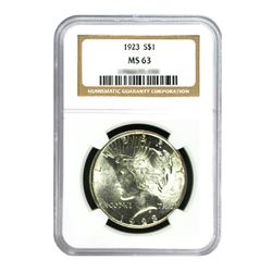 1923 $1 Peace Silver Dollar - NGC MS63