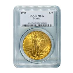 1908 $20 Saint Gaudens WM PCGS MS62
