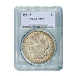 1921-S $1 Morgan Silver Dollar - PCGS MS64