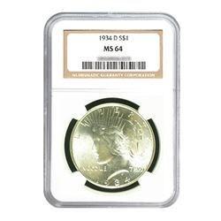 1934-D $1 Peace Silver Dollar - NGC MS64