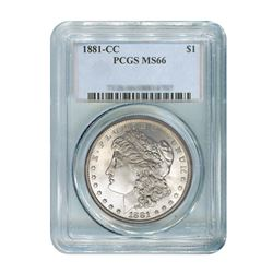 1881-CC $1 Morgan Silver Dollar - PCGS MS66