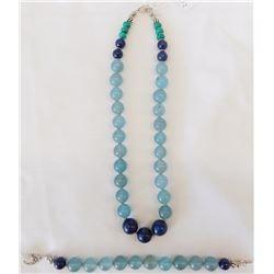Aquamarine Bead Necklace and Bracelet