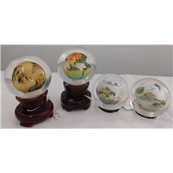 4 Chinese Interior Painted Spheres