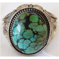 L. Etsitty Navajo Sterling Silver and Turquoise Bracelet