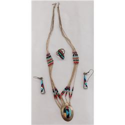 Native American Sterling Silver & Stone Set