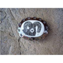Custom Made Scrimshaw SHEEP on Ivory Buckle