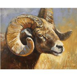 """ Rocky Mountain Bighhorn"" Original Oil on Linen painting 11x14"