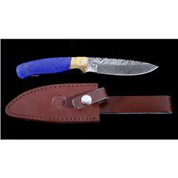 Damascus & Lapis Custom Montana Knife