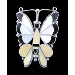 Zuni Old Pawn Silver Inlaid Mosaic Butterfly Pin