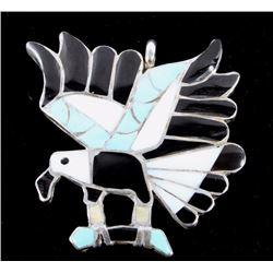 Zuni Inlaid Mosaic Silver Hawk Brooch Pendant