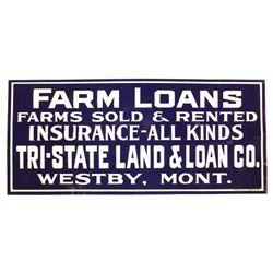 Original Westby Montana Farm Loans Sign Early 1900