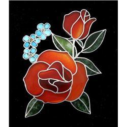 Zuni Inlaid Precious Stone Sterling Rose Brooch