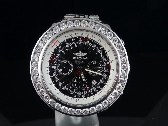 Custom Breitling 1884 For Bentley Motors Men S Watch W 18 50ctw Genuine Vs G H Diamonds Special Edit
