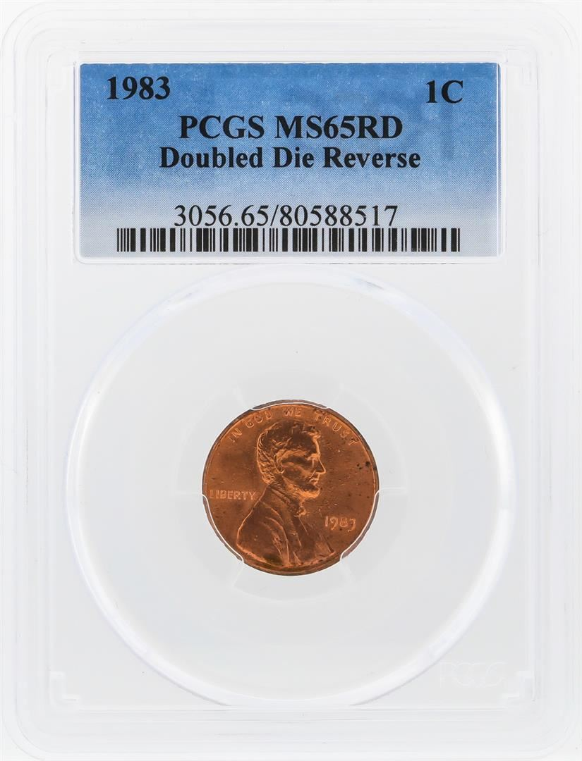 1983 Double Die Lincoln Penny PCGS Graded MS65RD